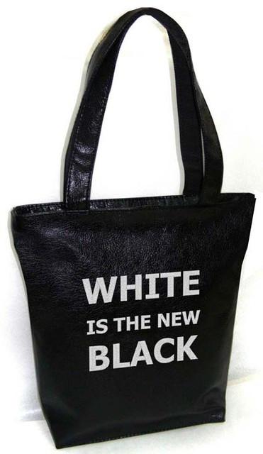 """Женская сумка - """"WHITE IS THE NEW BLACK"""" Б43 - черная"""