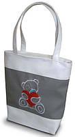 """Женская сумка -""""Мишка Teddy"""" (комбинированные ткани) К12 - бело-серая, фото 1"""