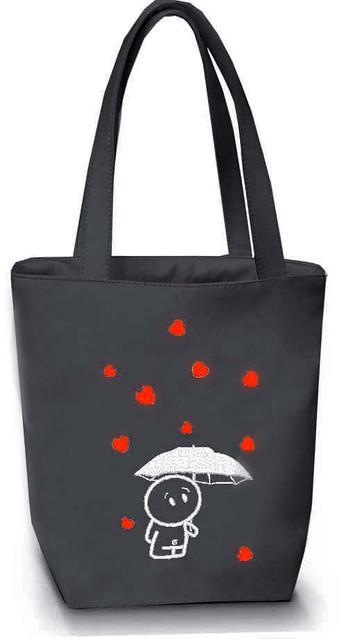 """Женская сумка - """"Дождь из сердечек"""" Б51 - серая"""