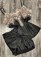Піжама жіноча, колір чорний комплект з бежевим мереживом.