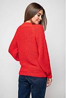 Женский теплый вязаный красный свитер с люрексом Ника, размер 42-48