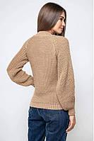 Женский теплый вязаный бежевый свитер с люрексом Ника, размер 42-48