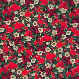 Декоративная новогодняя ткань Рождественник красный фон, фото 2