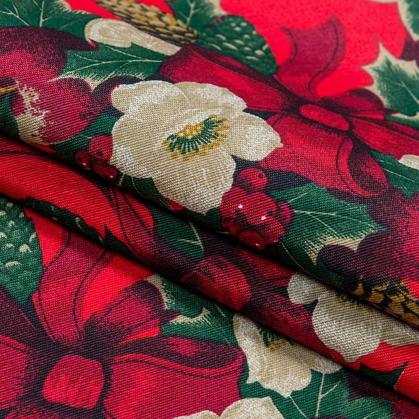 Декоративная новогодняя ткань Рождественник красный фон