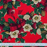 Декоративная новогодняя ткань Рождественник красный фон, фото 3