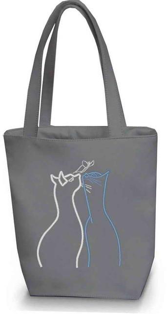 """Женская сумка - """"Коты с бабочкой"""" Б70 - серая"""