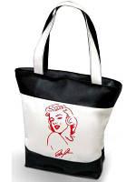 """Женская сумка -  """"Мерлин Монро""""К36 ( комбинированные ткани ) - черно-белая, с черной вышивкой"""