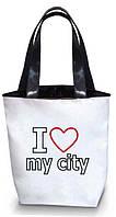 "Женская сумка - ""I love my city"" Б106 - белая, фото 1"