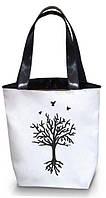 """Женская сумка - """"Дерево с глубокими корнями""""Б201 - белая"""
