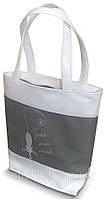 """Женская сумка -""""Гуляю сама по себе""""(комбинированые ткани)К69 - бело-серая, фото 1"""