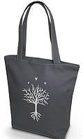 """Женская сумка - """"Дерево с глубокими корнями"""" Б201 - серая, фото 1"""