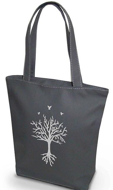 """Женская сумка - """"Дерево с глубокими корнями"""" Б201 - серая"""