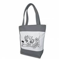 Женская сумка - Чертенок (комбинированые ткани) - серо-белая, фото 1