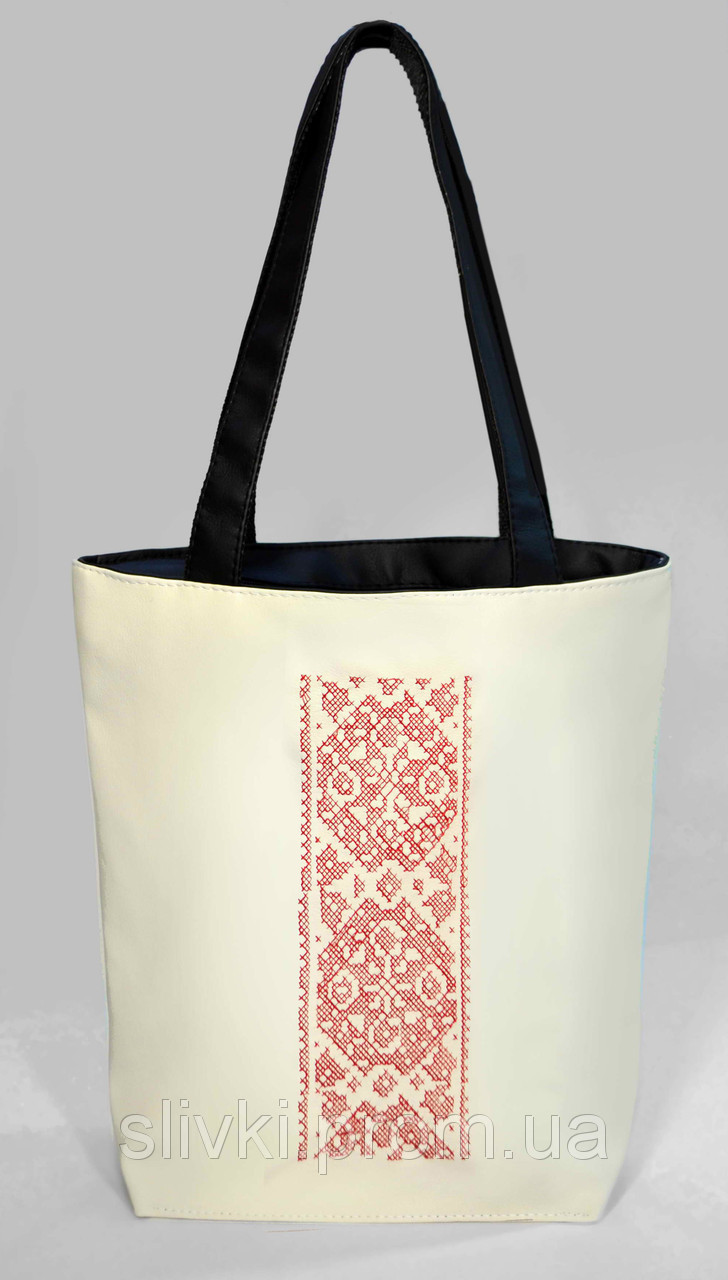 """Женская сумка """"Украинская вышивка"""" Б333 - белая с черными ручками"""