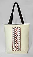 """Женская сумка """"Украинская вышивка"""" Б334 - белая с черными ручками"""
