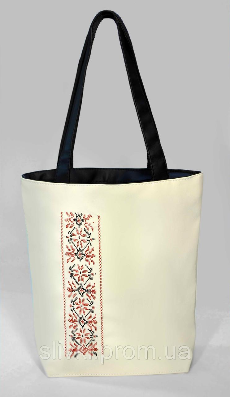 """Женская сумка """"Украинская вышивка"""" Б335 - белая с черными ручками"""