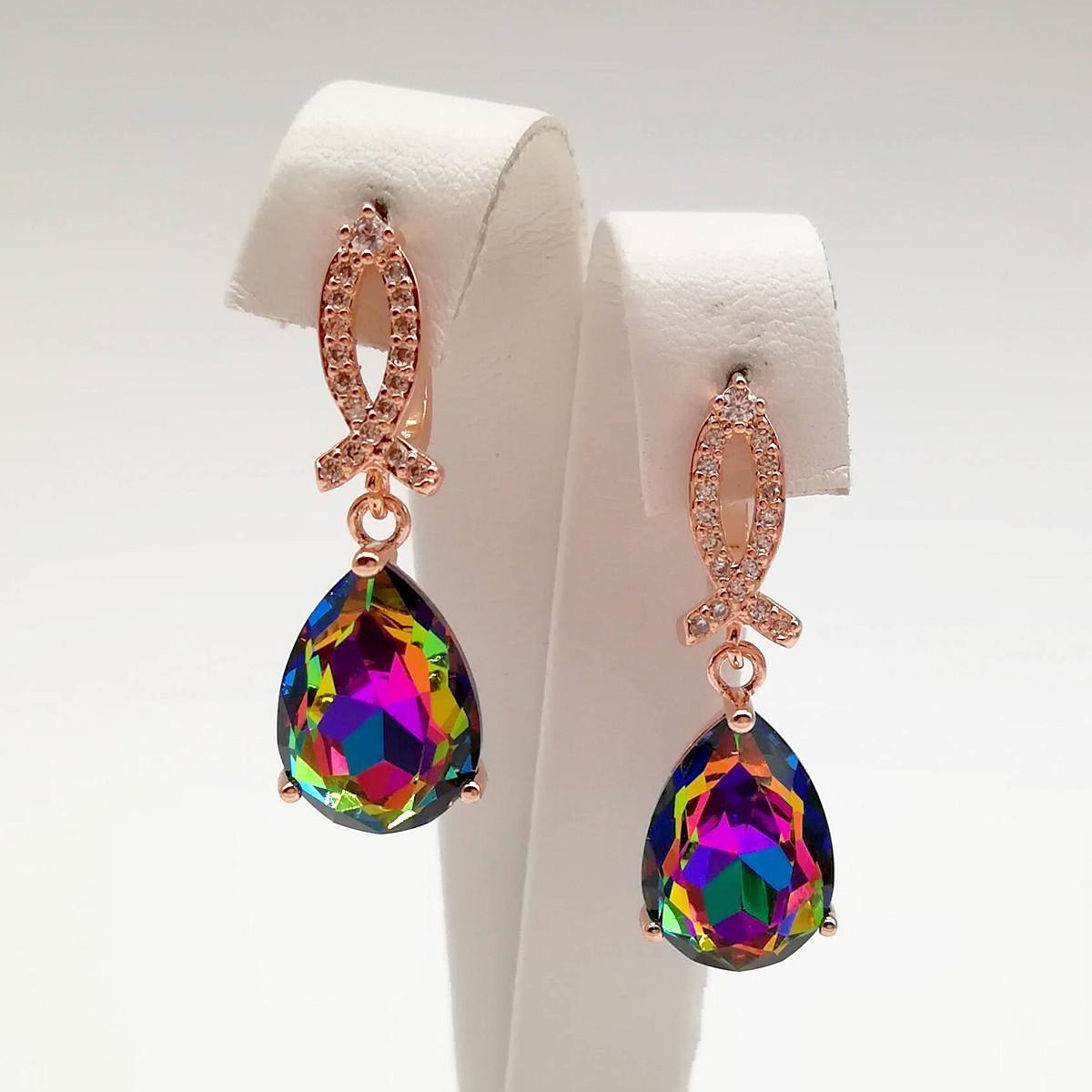Сережки SONATA з медичного золота, різнокольорові кристали Swarovski, позолота PO, 24841