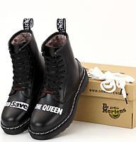 Зимние мужские женские ботинки Dr.Martens Sex Pistols мартинс черные на меху теплые. Живое фото. Реплика, фото 1