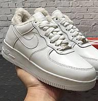 Женские зимние кроссовки с мехом Nike Air Force 1 AF1 Low низкие белые теплые 36-45рр. Живое фото. Реплика, фото 1