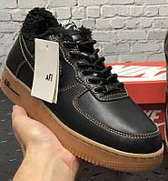 Зимние мужские кроссовки с мехом Nike Air Force 1 Low черные с коричневым теплые. Фото в живую. Топ реплика, фото 1