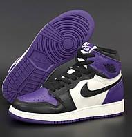 Женские кроссовки Nike Air Jordan 1 Retro high фиолетовые осень-весна повседневные. Живое фото. Реплика, фото 1