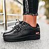 """Женские кроссовки Nike Air Force 1 """"07 Supreme"""" черные осень-весна низкие. Живое фото. Реплика"""