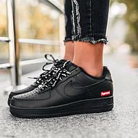 """Женские кроссовки Nike Air Force 1 """"07 Supreme"""" черные осень-весна низкие. Живое фото. Реплика, фото 1"""