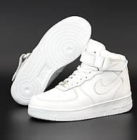 Женские зимние кроссовки с мехом Nike Air Force 1 AF1 High высокие белые теплые 36-40р. Живое фото. Реплика, фото 1
