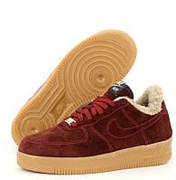Женские зимние кроссовки с мехом Nike Air Force 1 AF1 Low низкие бордовые теплые 36-40рр. Живое фото. Реплика, фото 1