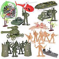 Набір військовий з транспортом: комбат, солдати, вежа,в рюкзаку YF3149B-A
