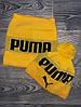Шапка мужская с бубоном Puma теплая + БАФ комплект желтый. Фото в живую. Реплика