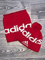 Шапка мужская с бубоном Adidas теплая + БАФ комплект красный. Фото в живую. Реплика, фото 1