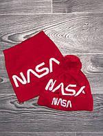 Шапка мужская с бубоном Nasa теплая + БАФ комплект красный. Фото в живую. Реплика, фото 1