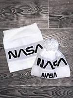 Шапка мужская с бубоном Nasa теплая + БАФ комплект белый. Фото в живую. Реплика, фото 1