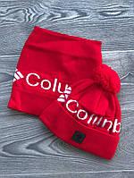 Шапка мужская с бубоном Columbia теплая + БАФ комплект красный. Фото в живую. Реплика, фото 1