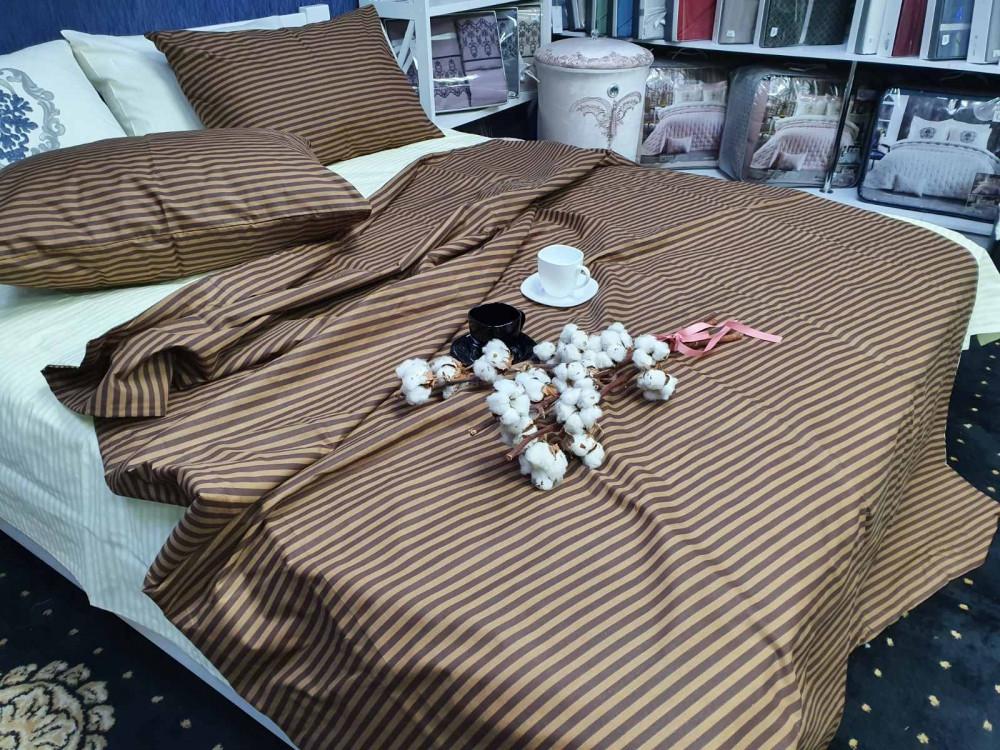 Двуспальный комплект постельного белья GoodSon Champagne-chocolate strip, бязь. Наволочка - 50*70см