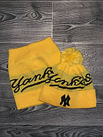 Шапка мужская с бубоном Yankees теплая + БАФ комплект желтый. Фото в живую. Реплика, фото 1