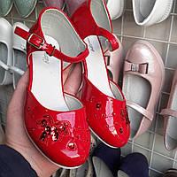 Красные лаковые туфли на каблуке для девочки 34(22)35(22,5)36(23)37(23,5)