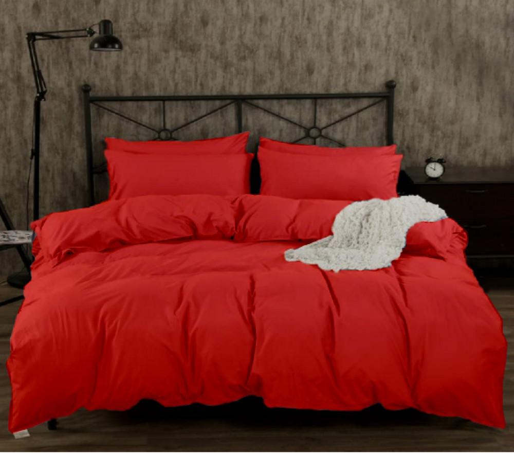 Однотонный комплект постельного белья GoodSon Red 02, бязь Двуспальный: пододеяльник 180*215, простыня 200*220