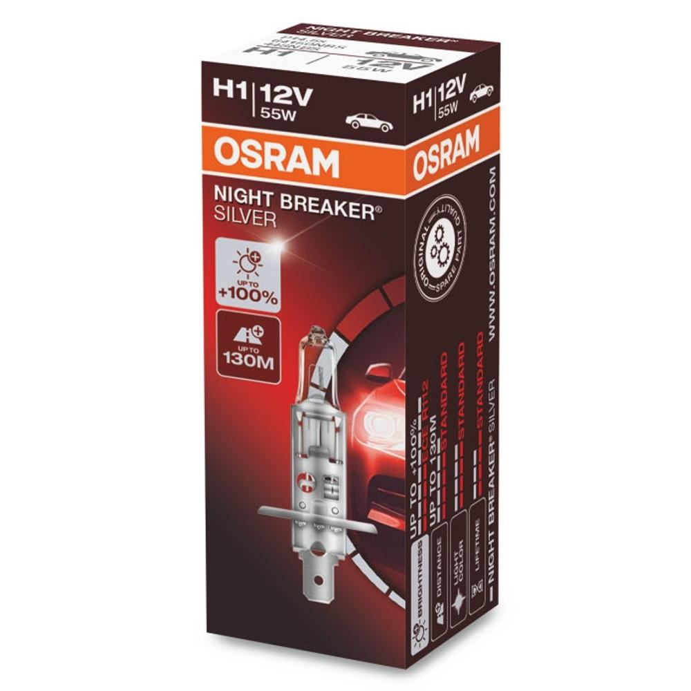 Галогенная лампа Osram Night Breaker Silver +100% H1 12V 55W 64150 NBS (1шт)
