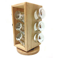 Набор для специй с подставкой Stenson MS-0370 Woody, 6 предметов