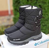 Женские зимние сапоги дутики Columbia с мехом черные с серым 36-41рр. Живое фото, фото 1