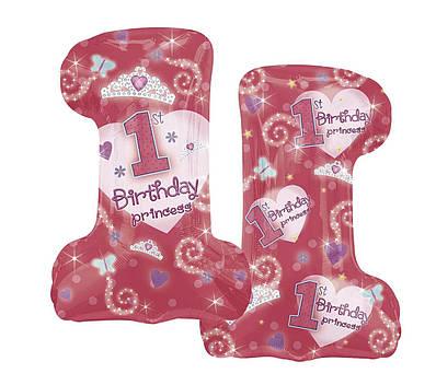 "А 19"" x 28"" 1st Birthday Princess Girl Foil Balloon - Pkg. Фольгированный шар Цифра 1 девочке, В УП"
