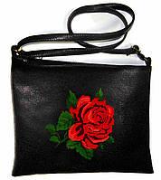 """Сумка - планшет с вышивкой  """"Роза"""" С320-черная"""