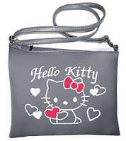 """Сумка - планшет с вышивкой  """"Hello Kitty с сердечками"""" С02- серая"""