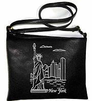 """Сумка - планшет с вышивкой """"New York"""" С56 - черная, фото 1"""