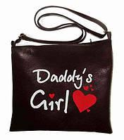 """Сумка - планшет с вышивкой """"Daddy""""s girl"""" С116- черная, фото 1"""