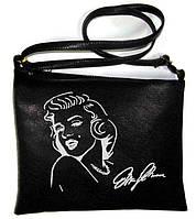 "Сумка - планшет с вышивкой ""Мерлин Монро"" С36 - черная, фото 1"