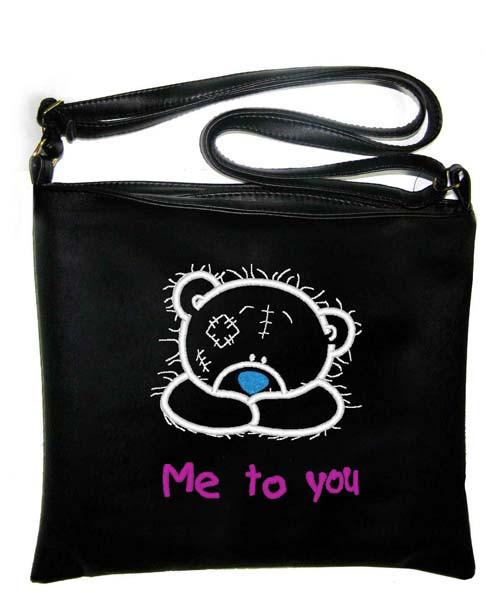 """Сумка - планшет с вышивкой """"Me to you"""" С62 - черная"""