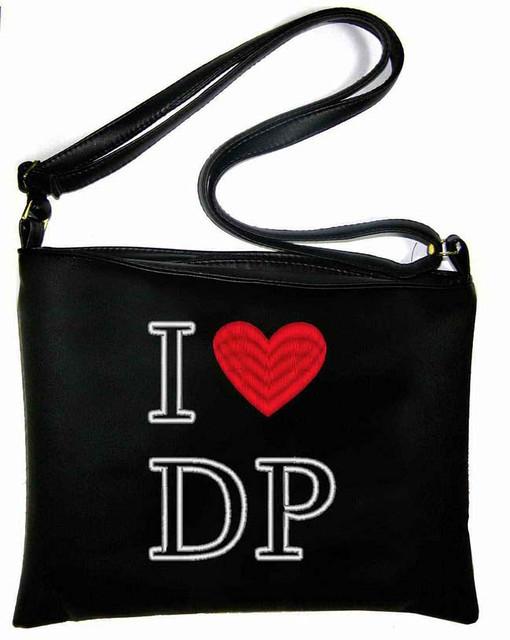 """Сумка - планшет с вышивкой """"I love DP"""" С105 - черная"""